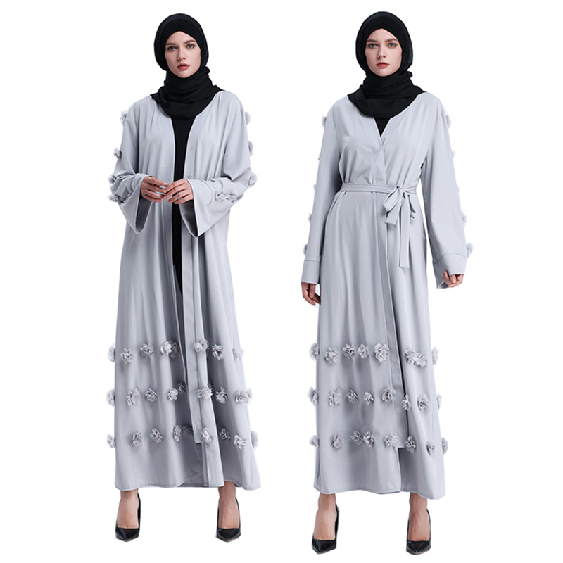 Flower Muslim Dress With Belt Women Dubai Abaya Black Robe Long Sleeve Elegant Design Maxi Dresses Clothes Female Ladies 3 Color