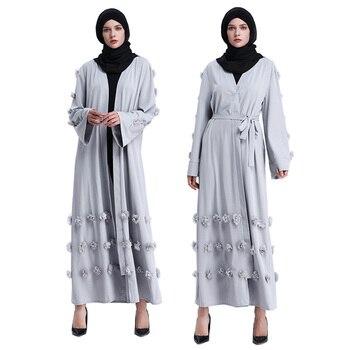 Flower Muslim Dress with Belt Women Dubai Abaya Black Robe Long Sleeve Elegant Design Maxi Dresses Clothes Female Ladies 3 Color