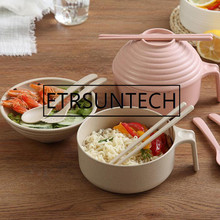 20sets Large Capacity Instant Noodles Bowls With Lids Healthy Wheat Straw Tableware Hot Rice Soup Food Container