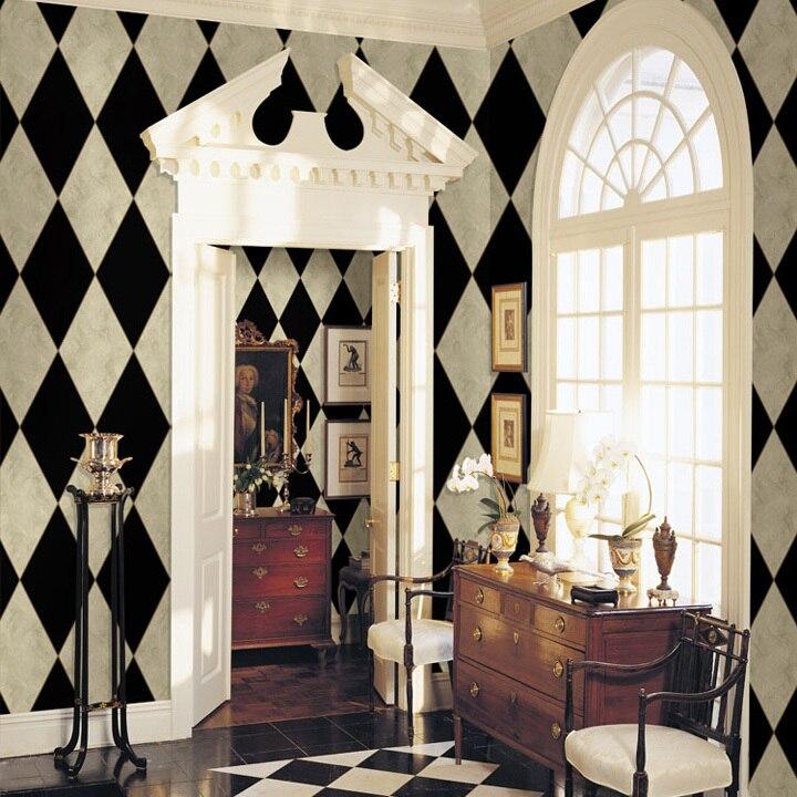achetez en gros noir blanc r tro papier peint en ligne des grossistes noir blanc r tro papier. Black Bedroom Furniture Sets. Home Design Ideas