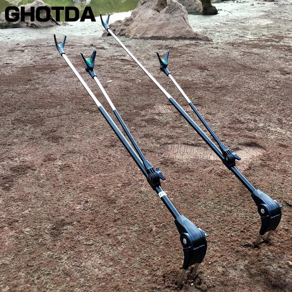 Alta calidad 1,7 m 2,1 m Acero inoxidable telescópica trole mano Rod soporte herramienta de pesca ajustable