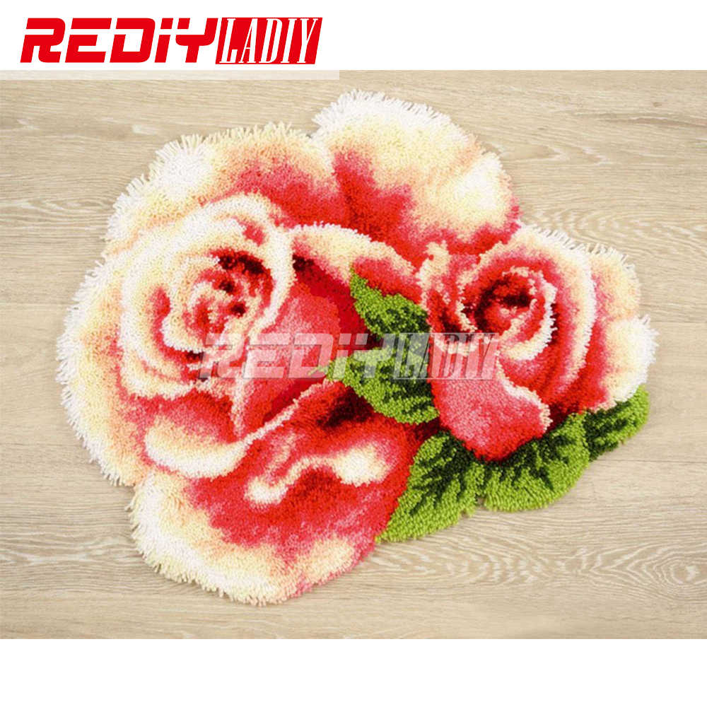3D Tapete do Gancho da Trava Kits Flores Rosa DIY Needlework Unfinished Crocheting Tapete Fio Tapete Almofada Home Decor Bordado Tapete Tapete