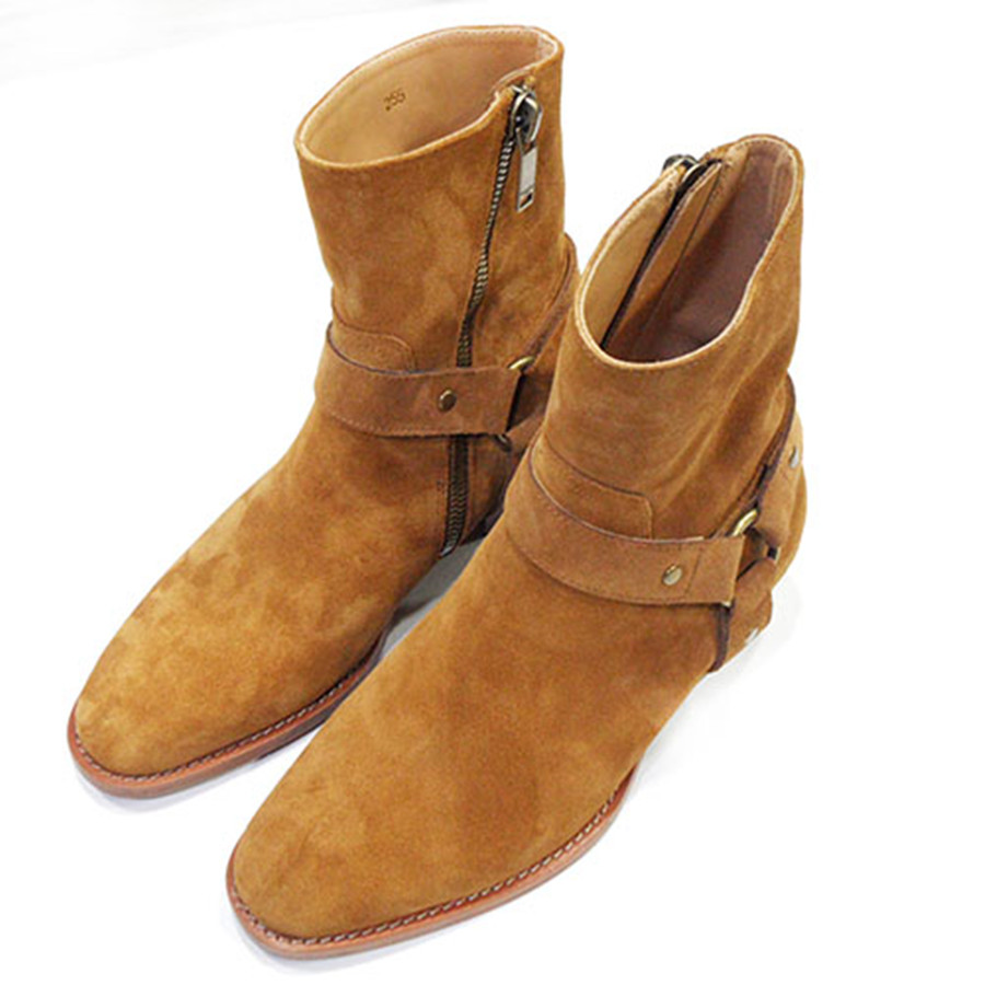Real Picture Handmade Ankle Strap Moto Denim Boots Genuine Leather Wyatt Oblique Zipper High Top Chelsea Leather Men Boots real picture luxury handmade classical wyatt homme harness high top chelsea men boots wedge real cow leather suede boots