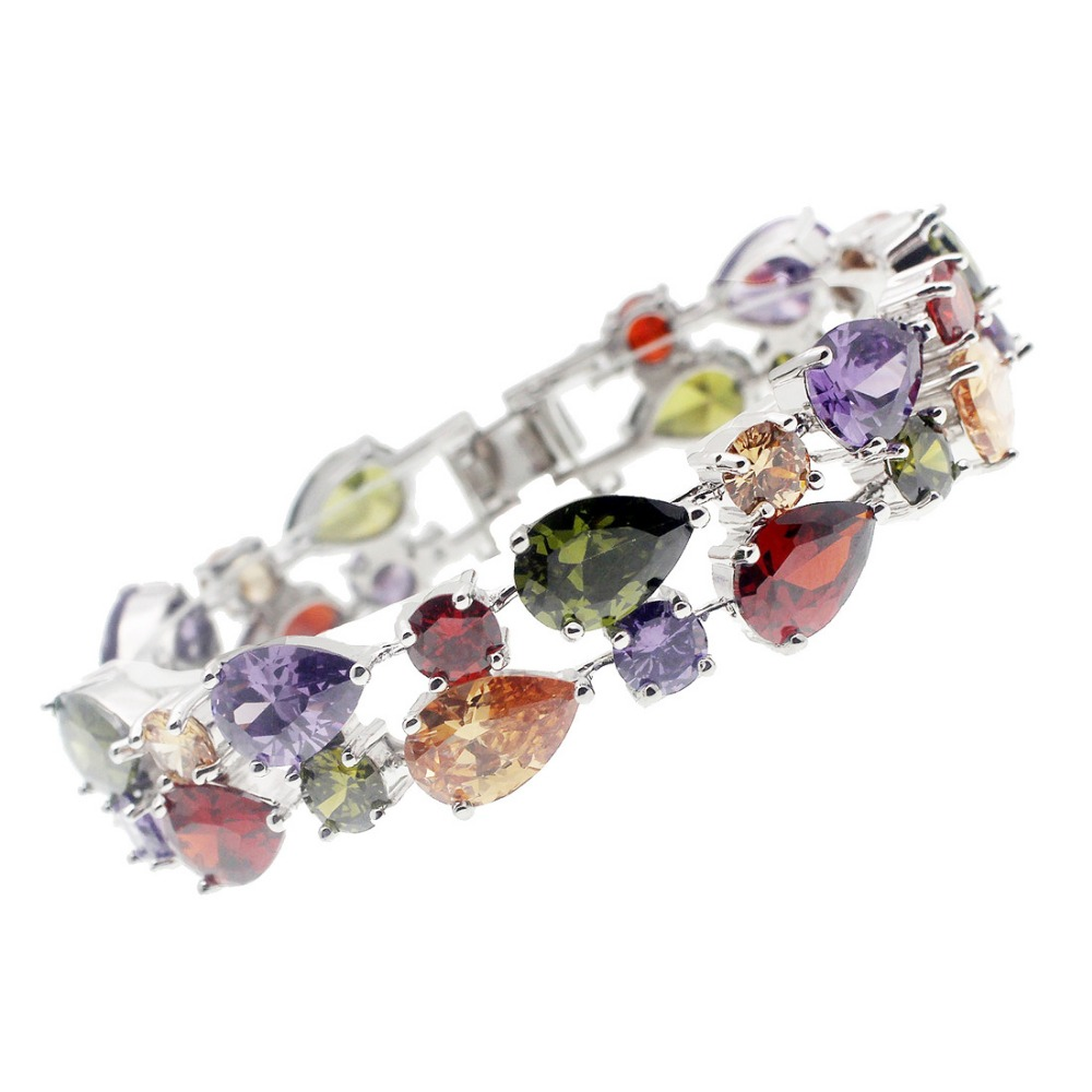 цена HERMOSA jewelry 34PCS. NATURAL AAA Multicolor Morganite GarnetAmethyst Peridot 925 Sterling Silver Bracelet 8