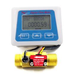 Cyfrowy wyświetlacz LCD czujnik przepływu wody przepływomierz licznik czasu temperatury z czujnikiem przepływu G1/2 w Przepływomierze od Narzędzia na