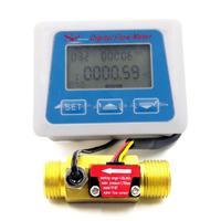 Digital LCD display Water flow sensor meter flowmeter totameter Temperature time record With G1/2 flow sensor