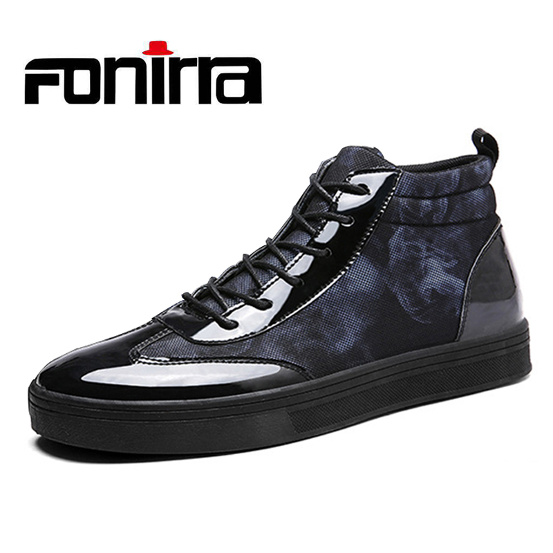 FONIRRA Fashion Patent Leather Men Shoes Men Breathable Casual Shoes Flat High Top Ankle Boots for Male 731
