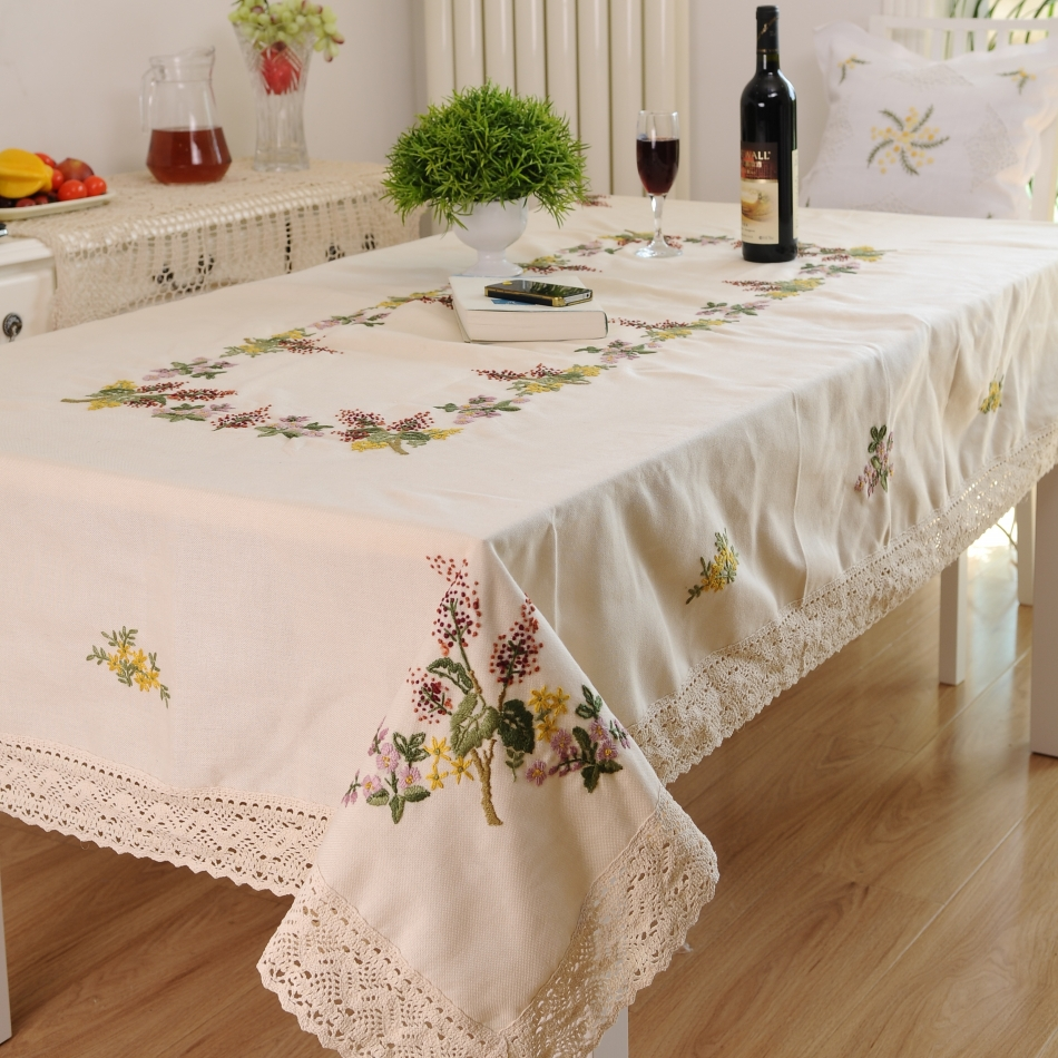 HETAIYIYUAN Fashion Hand Embroidery Home Party Table Cloth Christmas Tablecloth Embroidery