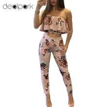 ae0b798ef50bb Moda Seksi Rahat Iki parçalı Set Kadın Eşofman Kıyafetler Straplez Mahsul  En Uzun Pantolon Çiçek Baskı Ruffles Bodycon Seti Pemb.