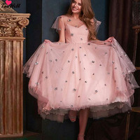 91f0450a3e ... różowa sukienka suknia. TaoHill Short Evening Dresses Women A Line Cap  Sleeves Fluffy Spaghetti Special Occasion Pink Dress Gown