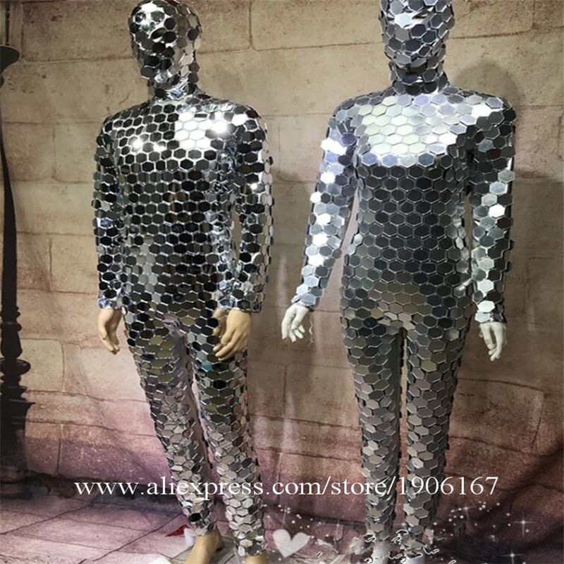 Ballroom dance men robot mirror suit women stage show costumes singer silver clothes models performance catwalk wears dj2
