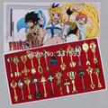 Free shipping 24pcs/set Cosplay Keychains Fairy Tail Lucy Key Keychain Pink Tattoo Heartfilia sign of the zodiac