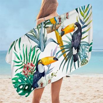 BeddingOutlet Floral Bath Towel Bathroom Tropical Plants Microfiber Beach Towel Leaf Pineapple Shower Towel Toucan toalla playa 3