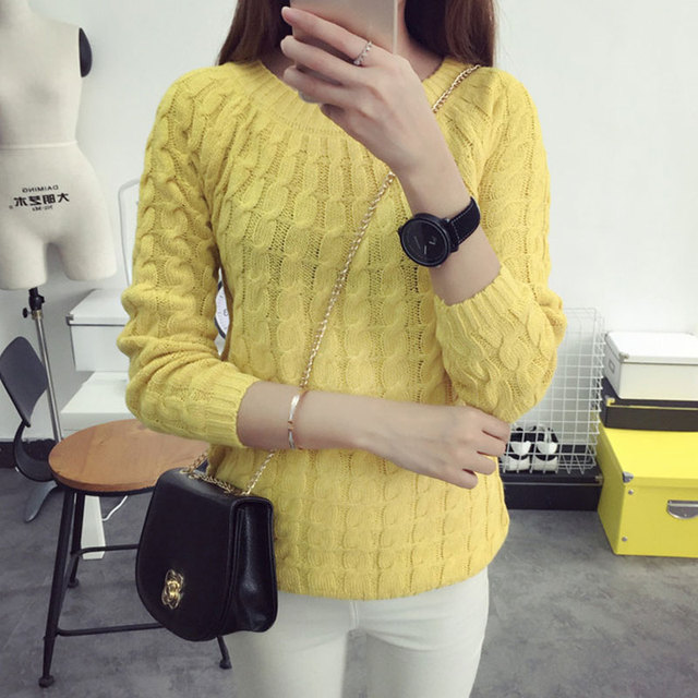 2017 Autumn New Fashion Sweet Women's Sweater Long Sleeve Casual Pullovers Solid Elegant Tops 6 Colors All-match Slim Sudaderas