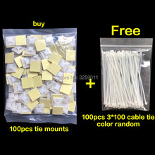 100PCS Self Adhesive Backed Cable Tie Mounts Wire Zip Tie Base Holders White 20 mmx 20 mm(China)