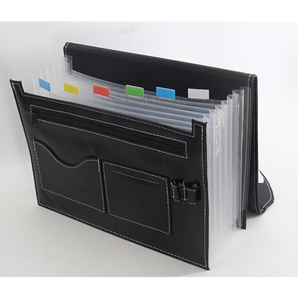 Expanding File Folder 7 Pockets, black Accordion A4 folder Leather File Organizer Large Capacity купить в Москве 2019