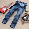 Quatro Estações pode usar cintura marca de moda jeans Reta Magros dos homens jovens calças retas calças de brim dos homens de qualidade