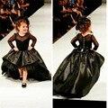Реальные Фото Черный Атласная Цветочница Платья Высокий Низкий Длинные рукава Бальное платье Pageant Платья Для Маленьких Девочек Блеск Платье лонго