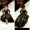 Real Photo Black Satin Flower Girl Dresses High Low Long Sleeve Ball Gown Pageant Dresses For Little Girls Glitz Vestido Longo