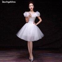 White Vintage Short Wedding Dress Cap Sleeve Ball Gown Wedding Dress 2018 Corset Butterfly Short Wedding Gowns Vestido De Noiva