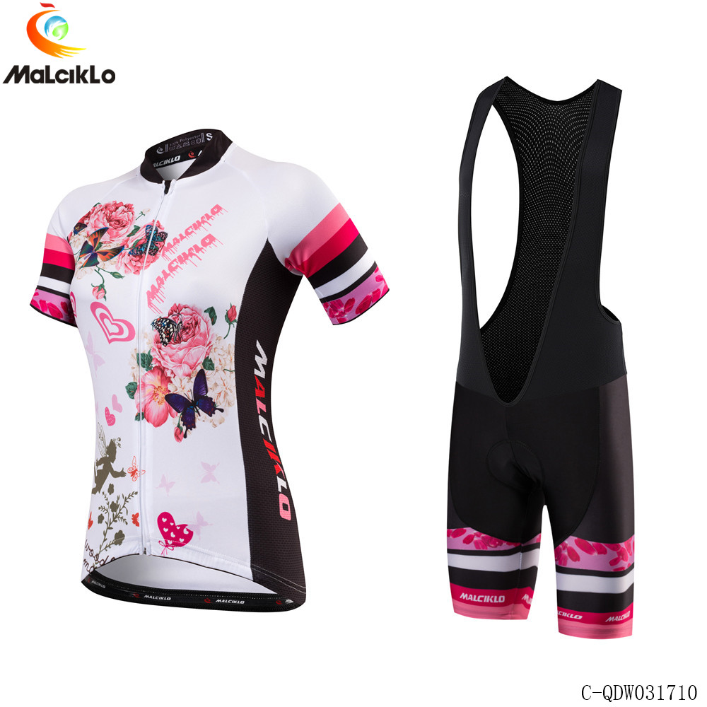 Malciklo Short Sleeve Cycling Skinsuit Breathable Bike Clothing Women Clothes Ropa Ciclismo 100% Polyester Cycling Jersey Sets