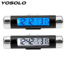 3 in 1 Car Auto Thermometer Clock Calendar LCD Display Screen Car Ornaments Digital Blue back light Automotive Accessories(China)
