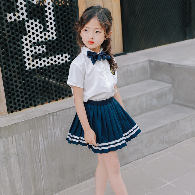 e3e433989 US $24.26 |Baby Girl Clothing Sets 2018 Summer Korean School Uniforms  Children 2pcs Suit Kids Girls Custumes British Style Clothes CLS153-in  Clothing ...