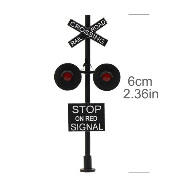 JTD877RP 1 set/2 Sets/6 sets HO Scale 6cm Railroad Crossing Signals 2 heads LED made + Circuit board flasher 1