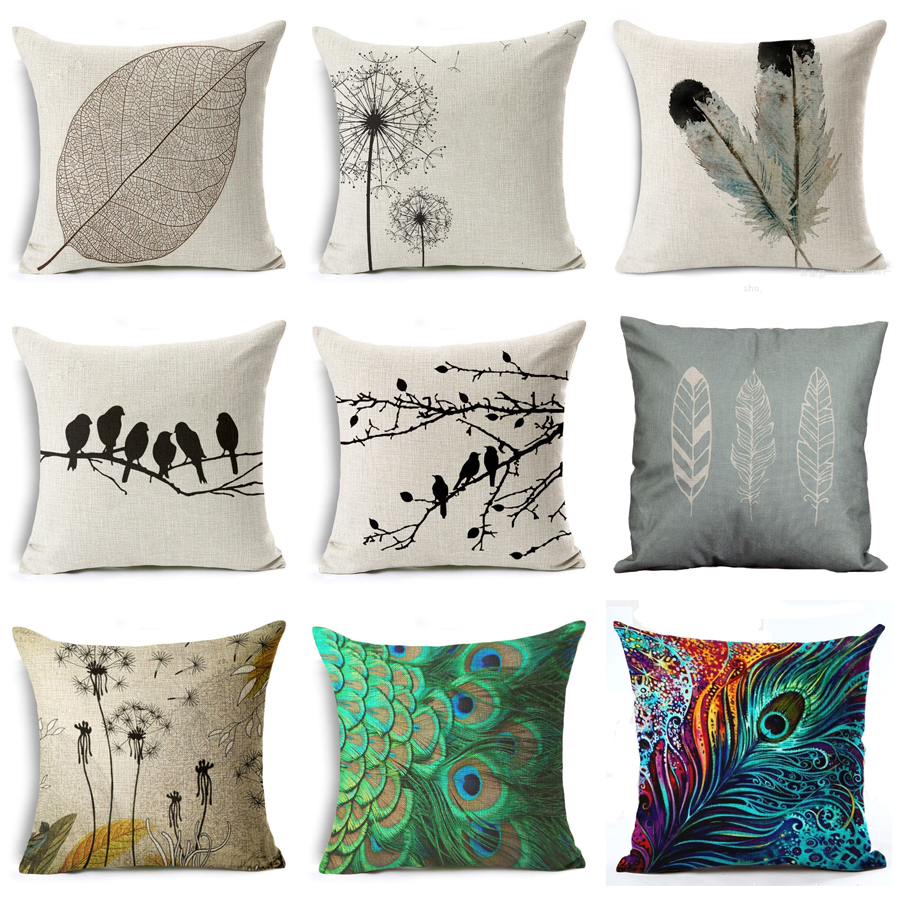 ᗑ】Moderno simple planta funda de almohada decorativa silla ...