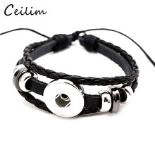 10 Pcs/lot Black PU Leather Snap Buttons Braided Bracelet Bangle Fit 18MM Diy Bracelet For Women Men Jewelry Wholesale(China)
