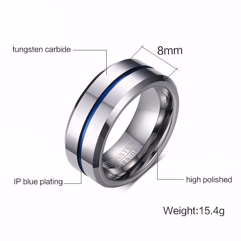 Modyle 2020 Fashion Thin Blue Line Tungsten Ring Wedding Brand 8MM Tungsten Carbide Rings for Men Jewelry