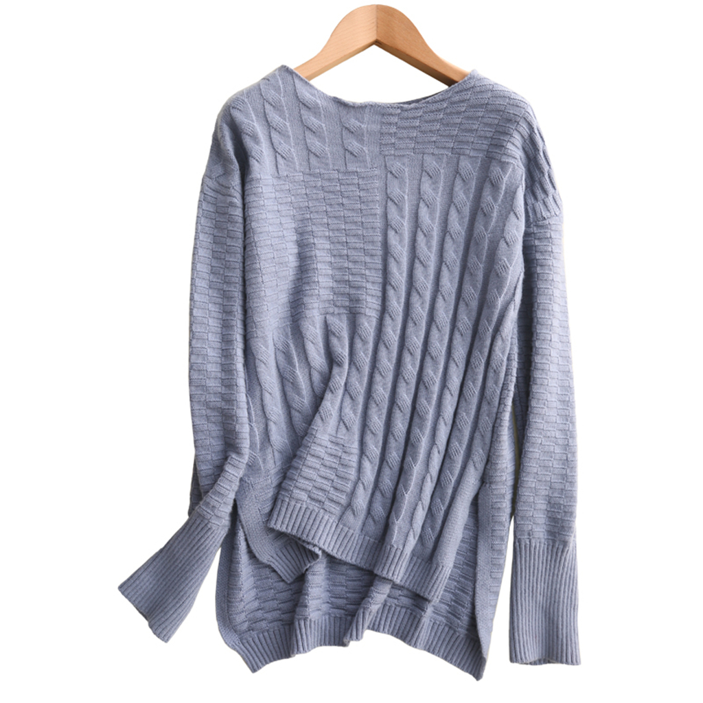 2019 Winter New Style Women's Knitted Cashmere Wool Sweater O Neck More Thick Warm Twist Cable Knit Pullovers European Style