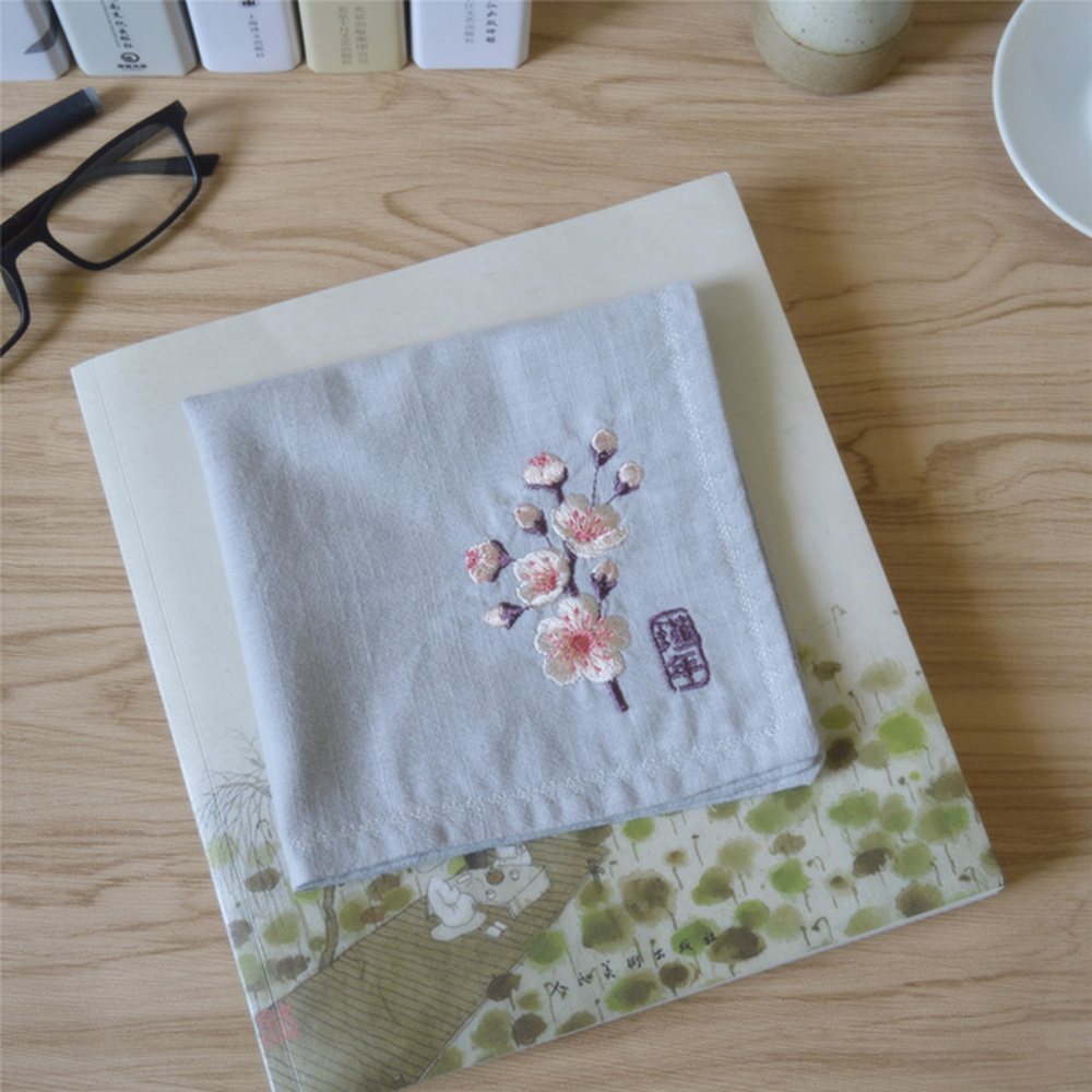 Cotton Linen Handkerchief Embroidery Lady Literary Antique Handkerchief Wedding With Hand Gift Special Gift Square Handkerchief