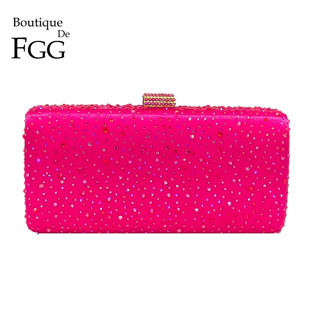 Boutique De FGG Hot Pink Fuchsia Crystal Clutch Aftenposer Kvinder Diamond Metal Box Håndtaske Bryllupsfest Clutcher Brudepose