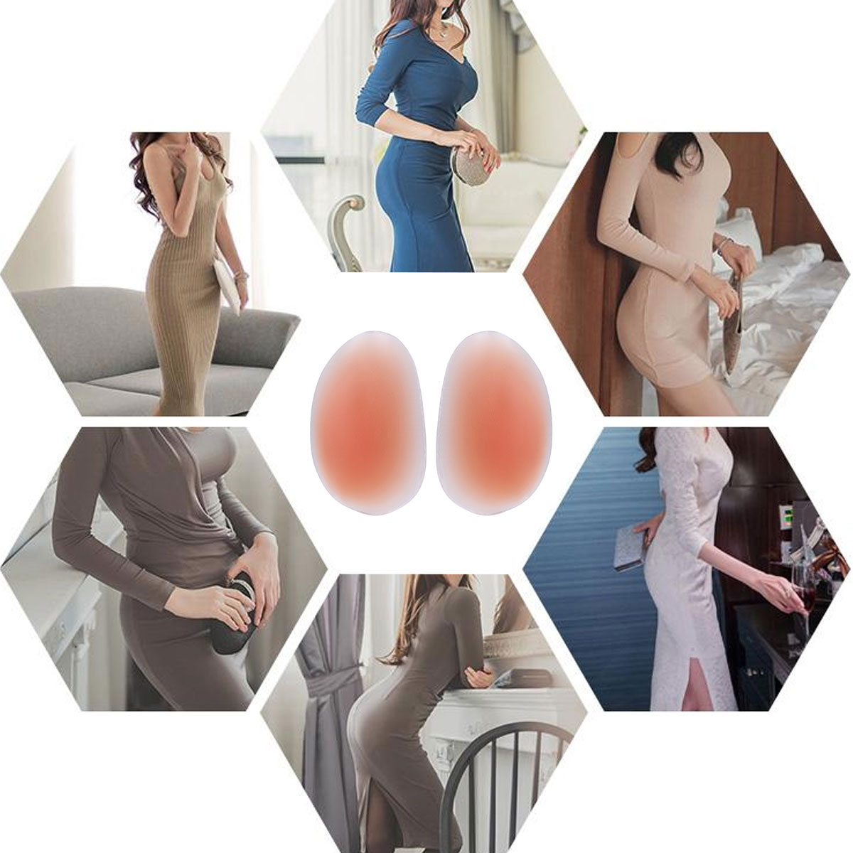 1 Pair Soft Silicone Butt Pads Buttocks Enhancers Insert Padding Push Up Panties