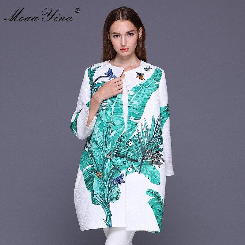 MoaaYina Designer manteau printemps femmes à manches longues Jacquard feuilles de banane libellule papillon perlé cristal décontracté lâche pardessus