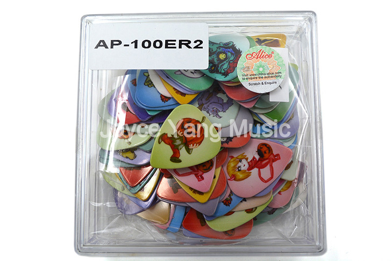 Alice AP-100-R2 Double-Printed Celluloid Guitar Picks Plectrums Medium 0.71/0.81mm With Plastic Box Case