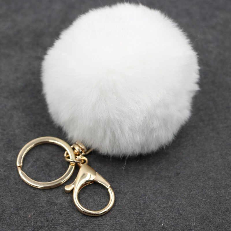 17 cor trinket bola de pele artificial chaveiro pompom pele chaveiros no saco fofo bonito do falso pompom pingente acessórios