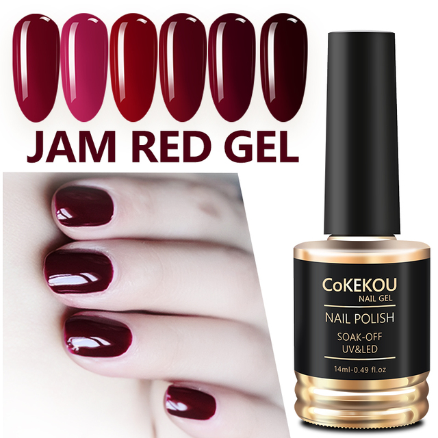 Ekou Genuine Car Nail Jam Red Polish Dark Color Gum Wine Lasting Uv Led