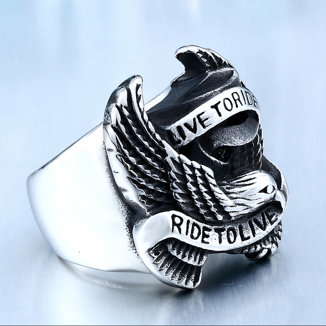 Stainless Steel Eagle Ring in Black And Silver