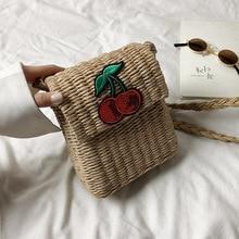 Female Straw Beach Phone Crossbody Bags 2019 Summer Wicker Designer Handbags Ladies Rattan Shoulder Messenger Purse Bag Sac A