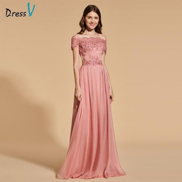 Dressv bright dark pink elegant long prom dress off the shoulder a ...