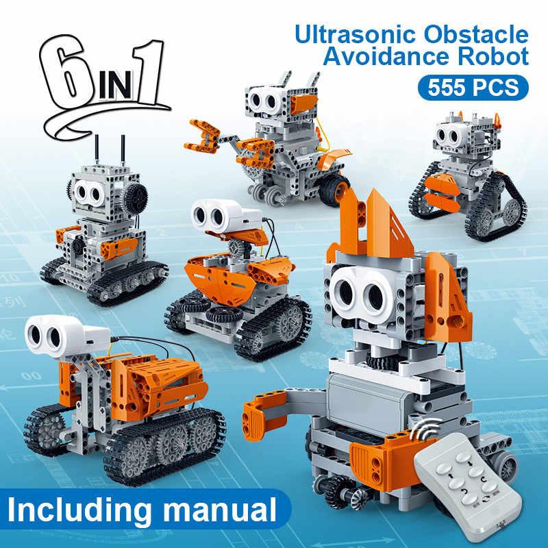 BanBao 6 w 1 Robot kontroli ultradźwiękowej unikania przeszkód cegły edukacyjne modelu budynku klocki dla dzieci zabawki dla dzieci 6917