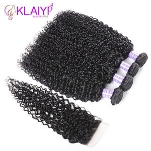 Image 2 - Klaiyi Hair Malaysia Curly Hair Bundles with Closure 4PCS Swiss Lace Closure With 3 Bundles Remy Human Hair Dark Black