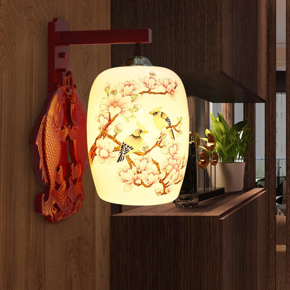 Ceramic Wall Lamp Shades : ?LED Modern Camphor Wood ? Wall Wall Lamp Ceramic Shade ?_? Wall Wall Sconce Bedroom Corridor ...