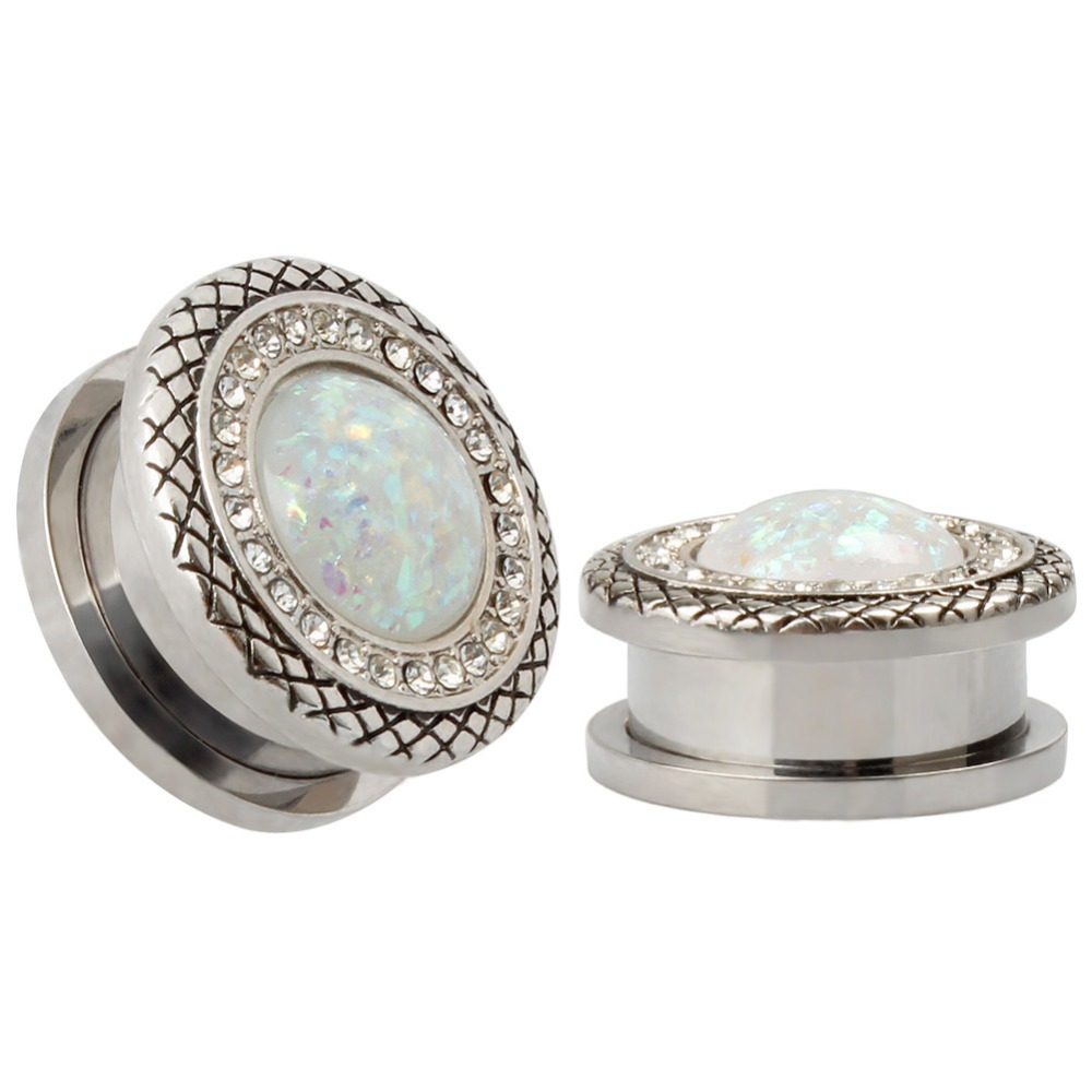 Jewelry amp watches gt fashion jewelry gt body jewelry gt body piercing - 2016 Fashion 2pcs Crystal Design Ear Piercings Tunnel Plugs Body Jewelry Ear Expander Reamer Sell By