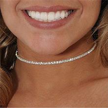 Простое Ожерелье Стразы в 1 ряд ожерелье чокер для женщин ошейник