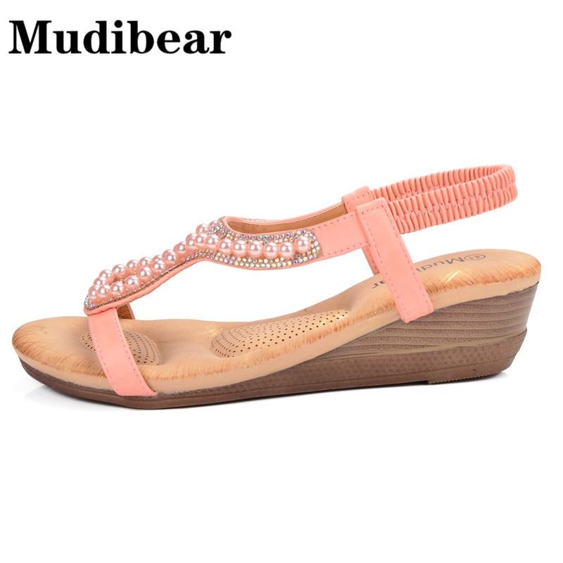 0f99744c709cc5 Aliexpress.com   Buy Mudibear Women Shoes Size Plus Wedge Sandals Beading  Hollow Ladies Bohemia Open Toe Soft Pink Beach Sandals Women 2018 Summer  from ...