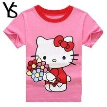 3-7T Little Girls T Shirt Summer Short Sleeve Cartoon Hello Kitty Cute Tops Pullovers KT Cat Pink Pink T-Shirt Kids Clothes