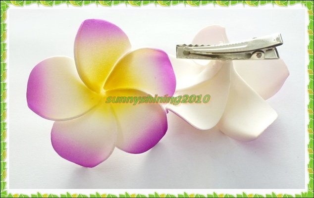 50 Purple colour Foam Hawaiian Plumeria flower Frangipani Flower bridal hair clip 6cm ...